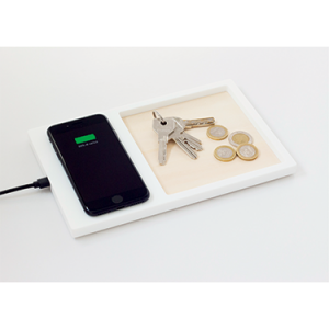 POSO smart QI charger valet tray white and wood