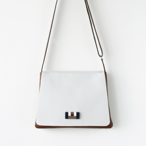 crossbody bag white and brown leather